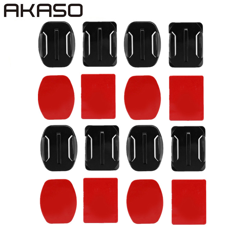 16pcs Flat Curved Base Mount and Adhesive Stickers for GoPro Hero 5 6 4 Yi 4K SJCAM SJ4000 Mount for Gopro Accessories Set pannovo curved pc mount w 3m adhesive sticker set for gopro hero 4 2 3 3 sj4000 2 pcs