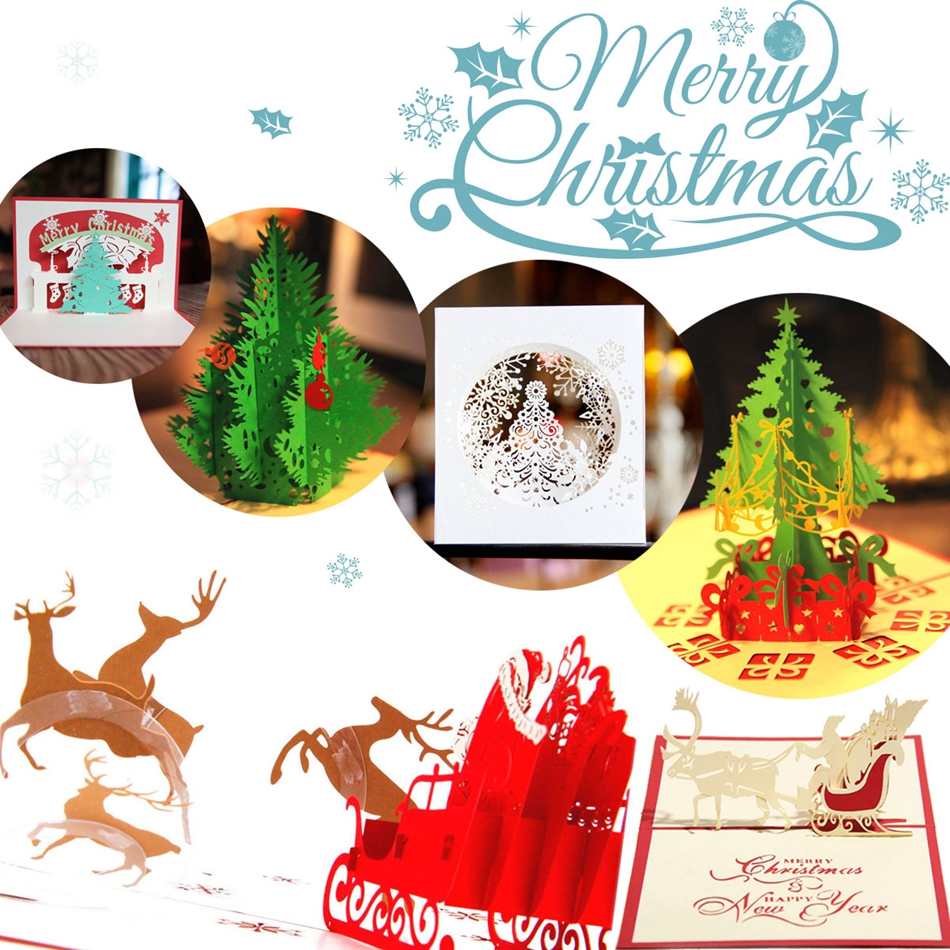 Vintage 3D Pop Up Greeting Card Vintage Merry Christmas Cards Gifts Tree Postcards Pack of 6 SD-6 3d pop up the god of wealth creative gifts for birthday post card greeting cards holiday 1411r