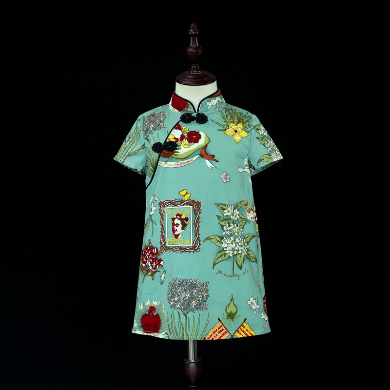 Brand family look outfits mother daughter cotton clothes kids girls Chinese style straight dress mom and baby cheongsam dresses 2017 autumn chinese style girl dress cotton short sleeve chinese cheongsam for kids baby girls qipao girls clothes