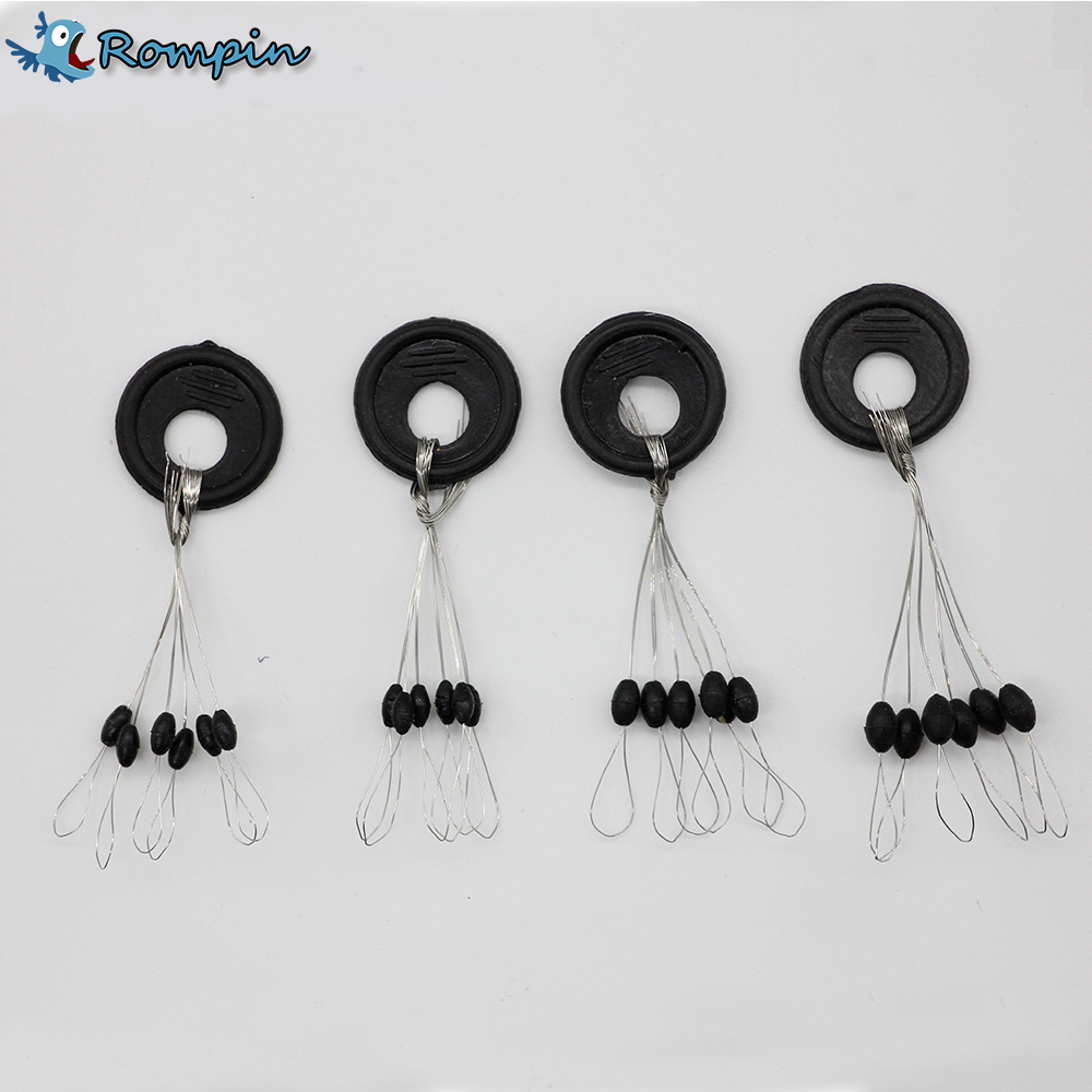 Rompin 10 set Size SS/S/M/L Black Rubber Oval Stopper Fishing Bobber Float Space bean Stopper Folat Line Stoppers Bobber Stops цена 2017