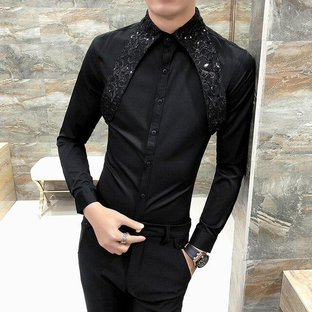 Sıcak erkek gömlek Slim Fit uzun kollu 2020 bahar smokin gömlek erkekler seksi dantel Patchwork rahat parti elbise gömlek Mens siyah/beyaz
