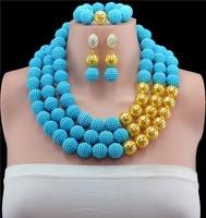 Hot Sale!Splendid African Chunky Brial Beads Jewelry Set Amazing Plastic Balls Nigerian Wedding Beads Sets Free shipping BN526