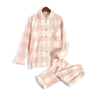 Image 2 - Fresh plaid 100% gauze cotton lovers pajama sets women and men  Autumn long sleeve casual sleepwear women pyjamas