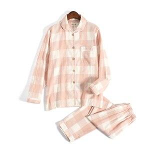 Image 2 - Tươi Kẻ Sọc 100% Gạc Cotton Người Yêu Pyjama Bộ Nam Nữ Thu Đông Dài Tay Nhật Bản Cổ Đồ Ngủ Nữ Pyjamas