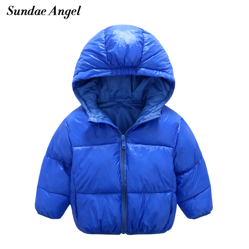Sundae Angel Winter jackets girls Long Sleeve Cotton Kids Baby boys Coats Hooded Solid Down jacket for girl Outerwear Children