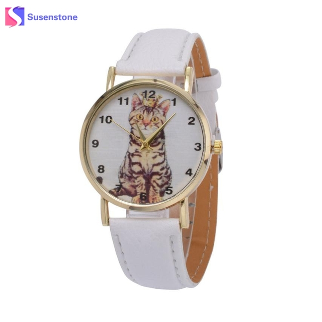 Fashion Men Women Watches Leather Quartz Analog Wrist Watch Cute Cat Print Ladies Girl Sport Watches Clock Time relogio 2018