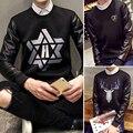 2016 teenagers sets round collar printed baseball uniform fashion splicing sleeve fleece