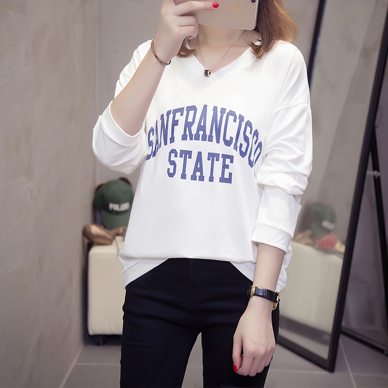 Wholesale price 2019 long sleeve shirt women T Shirt Letter V-neck Casual bottoming Tops Tee Female plus size