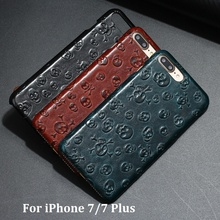 Genuine Leather Case For iPhone 7 6 6S Plus 5 5S SE Cell Phone 3D Pirate Skull Back Covers Cases