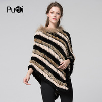 Pudi CK711 women rex rabbit fur and raccoon fur pashmina poncho Cloak shawl with raccoon fur collar