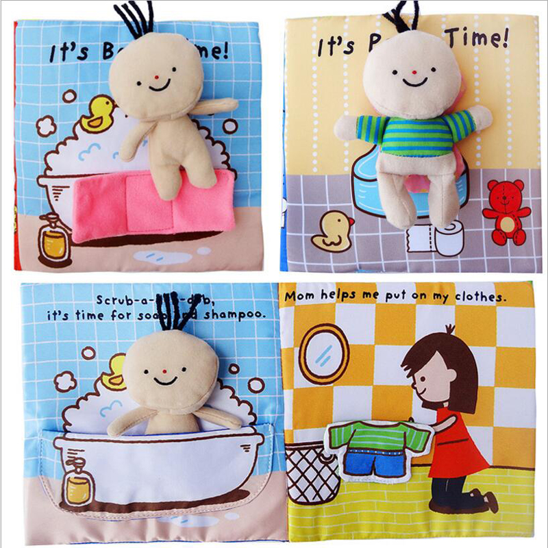 Cloth Books  3D Books 4Pages Sound  Endoucational Cloth Books Toilet Bathing Cloth Books For Newborn Baby 0-12 Month 1