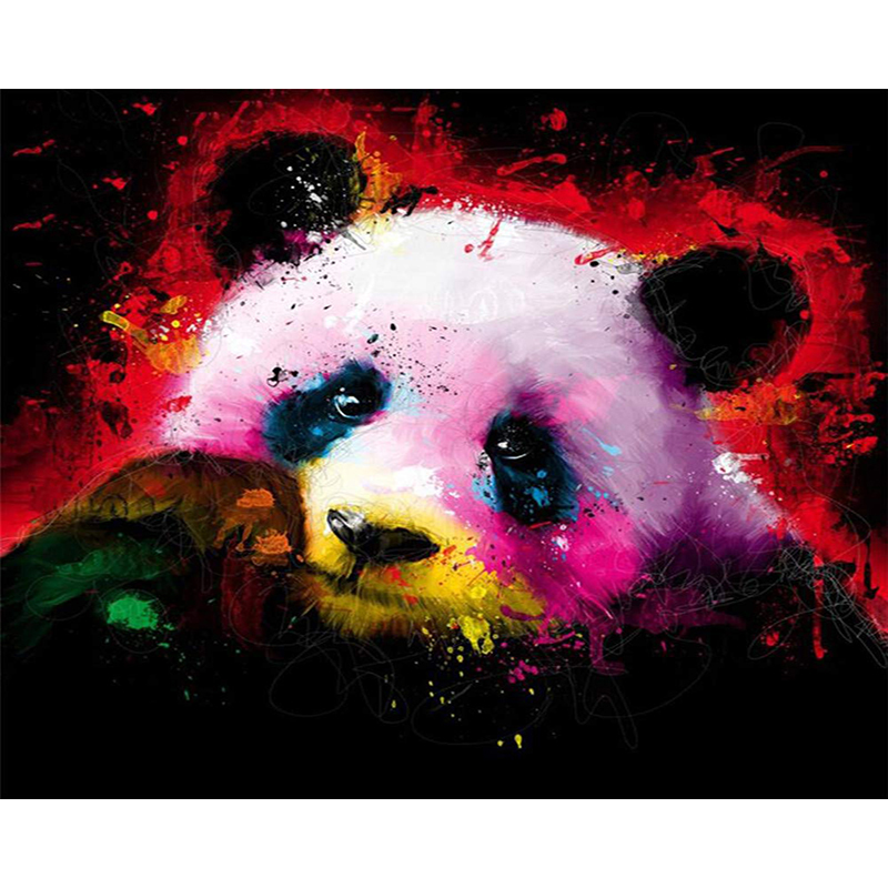 DIY Digital Painting By Numbers Package colorful panda oil painting mural Kits Coloring Wall Art Picture Gift frameless