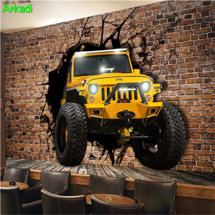 3d mural living room wall wallpaper jeep car broken wall 3D personalized wallpaper decoration custom mural wallpaper ktv backgro