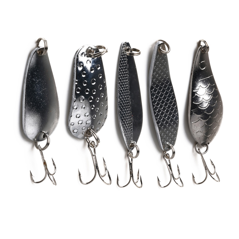 Hengjia Fishing-Lure Hard Spoon Baits Metal Spinner Silver Treble-Hook 1pcs Sequins Noise-Paillette