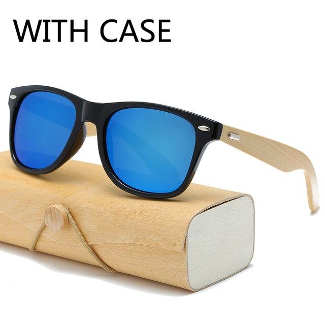17 cor Óculos De Sol De Madeira de bambu óculos de sol com caso Mulheres  quadrados b8aacefea4