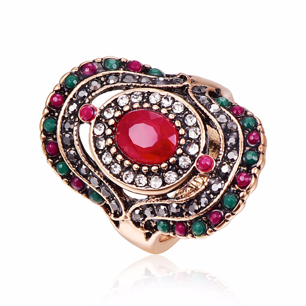 Fashion Vintage Crystal Rings Jewelry Luxury Big Geometric Women Ring Antique Red Green Color Rhinestones Resin Statement Rings
