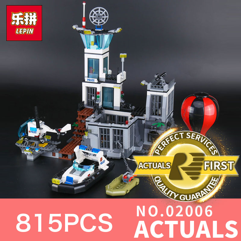Lepin 02006 815Pcs City Series The Prison Island Set 60130 Building Blocks Bricks Educational Funny Toy For Children Gifts lepin 02006 815pcs city police series the prison island set building blocks bricks educational toys for children gift legoings