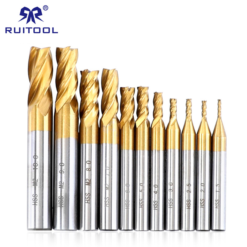 Milling Cutters Set 1.5-10mm CNC Router Bit Titanium HSS 4 Flutes Straight Shank End Mill Cutter Wood Steel Milling Tool