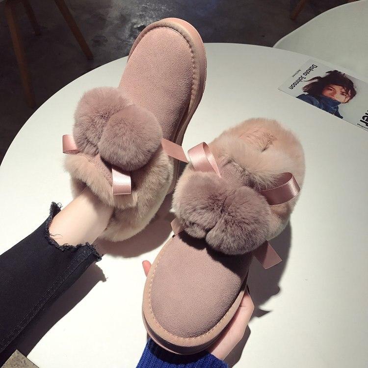 Calzado De Cálida Mocasines Casual Mujer Slip Suave Algodón Las Invierno Planos 2019 On brown Zapatos Casa Piel Lazo Mujeres Lindo Pink tfUTzw