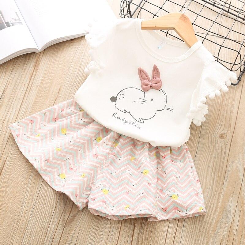 9806078d7d5 Комплекты детской одежды новый летний модный Повседневное Мультфильм  фотографии Стиль Одежда для девочек хлопок комплект из