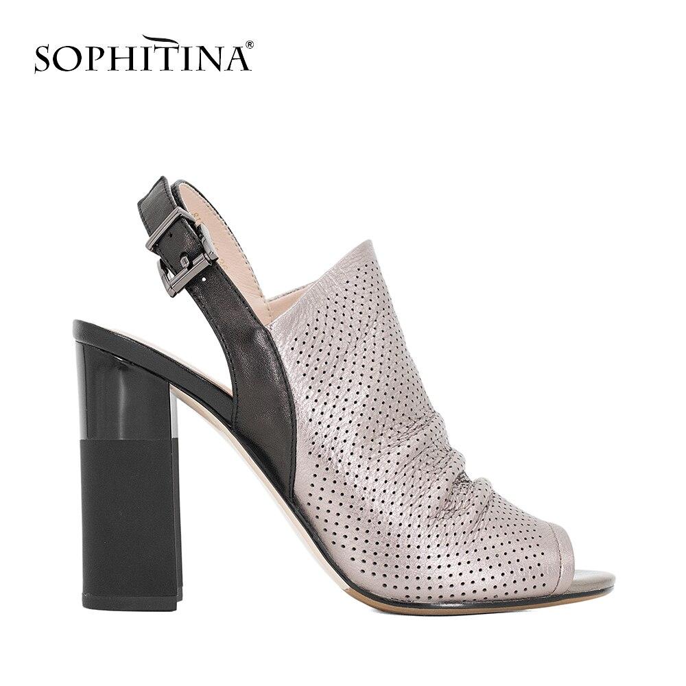 SOPHITINA Femme Sandales À La Main De Luxe Pour la Robe Extrême Haute Talon Pompes Peep Toe Plissée Vache En Cuir D'été Chaussures Femmes S33