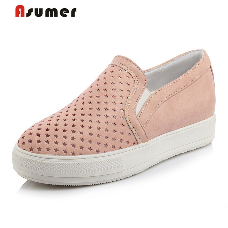 Asumer Plus size 34-44 new arrive high quality ladies  shoes women pumps round toe hollow single shoes woman sweet new 2017 spring summer women shoes pointed toe high quality brand fashion womens flats ladies plus size 41 sweet flock t179