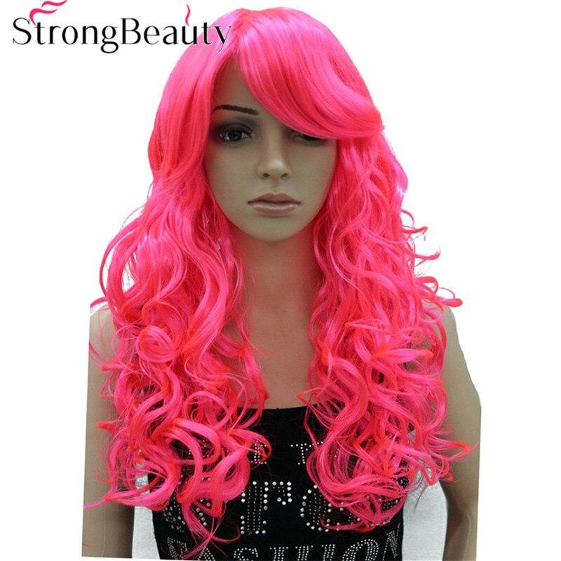 Strongbeauty длинные вьющиеся красный розовый синий Искусственные парики Косплэй парик halloween party волос