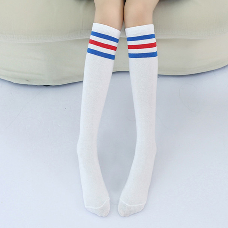 2f1999657 Kids Knee High Socks Girls Boys Football Stripes Cotton Sports School White  Socks Skate Children Baby Long Tube Leg Warm