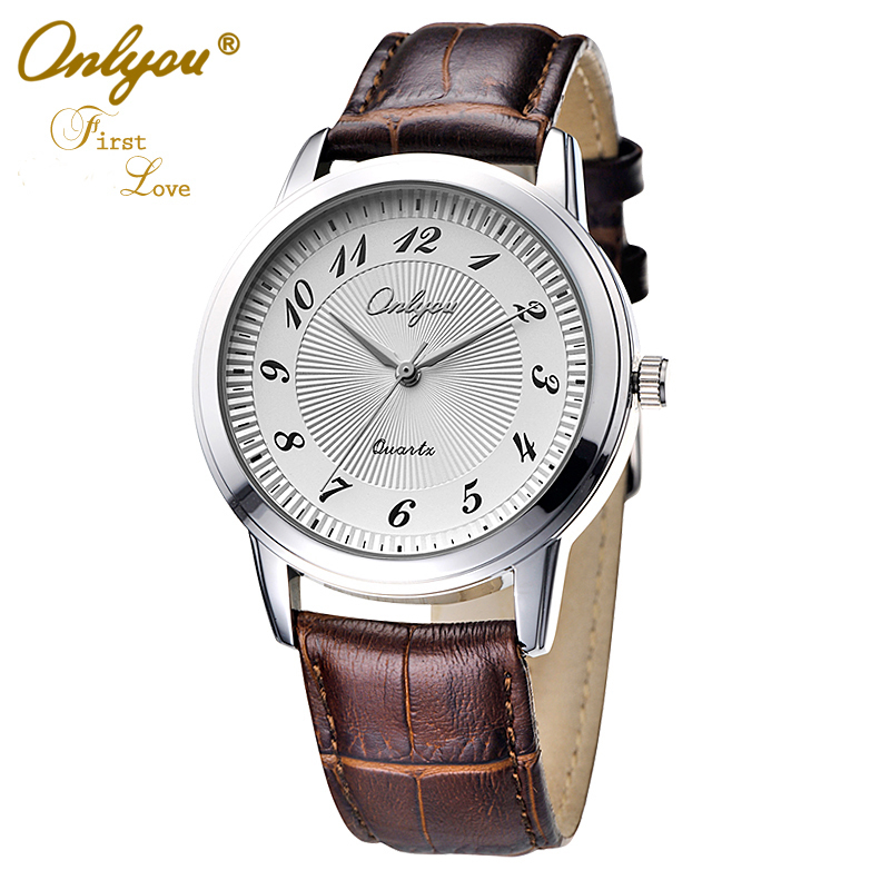 ФОТО Onlyou Brand Fashion Casual Men Women Lovers Watches Boys Girls Quartz Watch Leather Business Black Wristwatches 8818