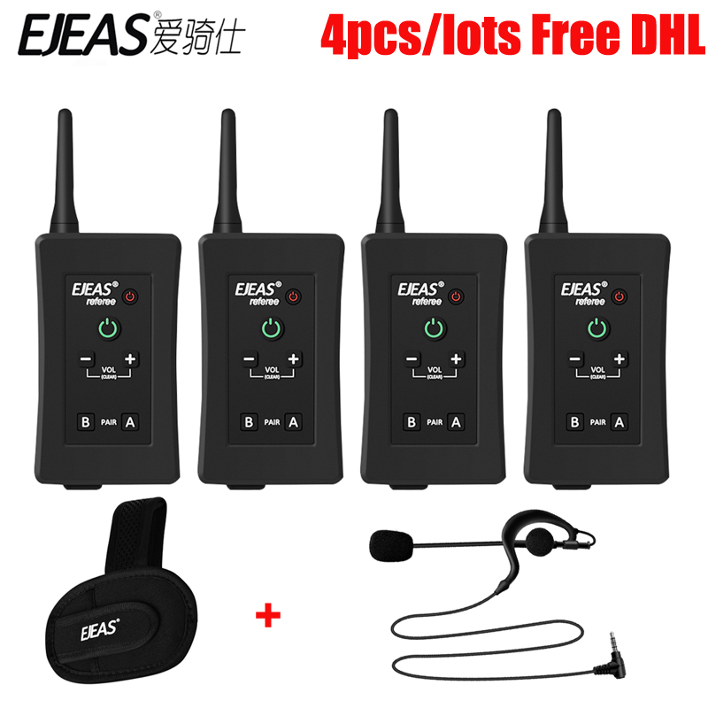 Livraison DHL 4 pcs/lots EJEAS Football Arbitre Interphone Casque FBIM 1200 m Full Duplex Bluetooth Moto Interphone Sans Fil