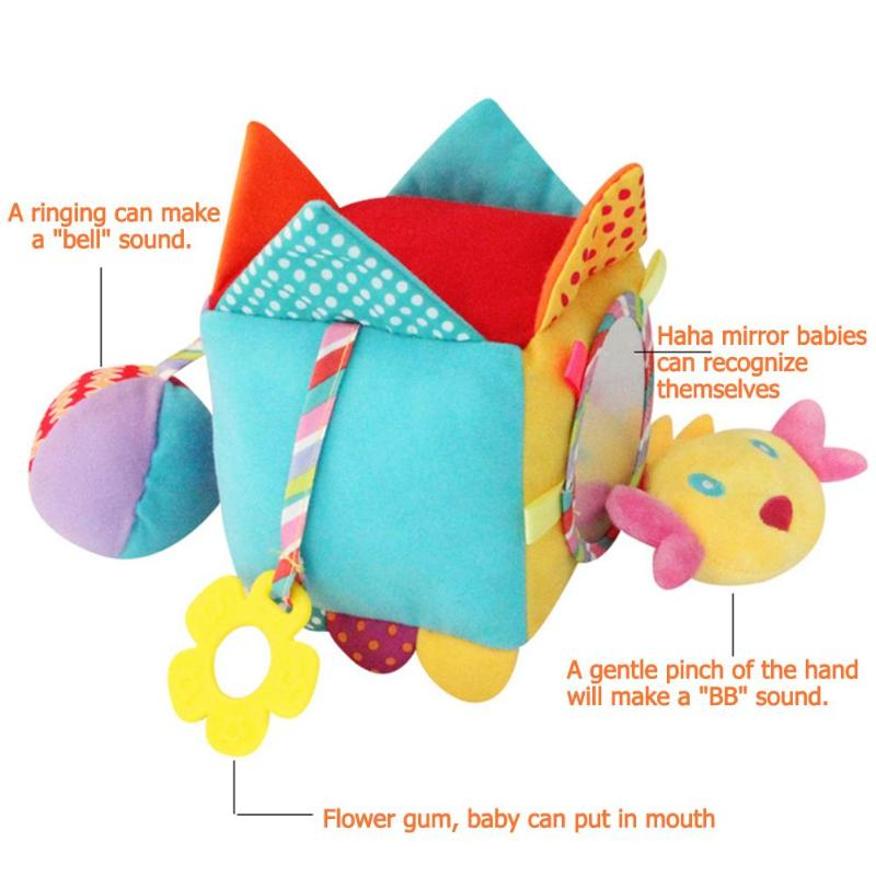Plush 3D Baby Mobile Toys Cartton Baby Rattle Toys For Newborn 0-12 Months Educational Toy Animal Hand Bells Baby Toy
