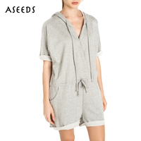 Summer Autumn Bodysuits Fashion Loose Casual Rompers Womens Jumpsuit For Women 2017 One Piece Hooded Body