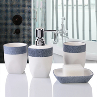 ONEUP 4piece set / set bathroom set marble ceramic bathroom accessories of soap box toothbrush holder lotion bottle mouth cup