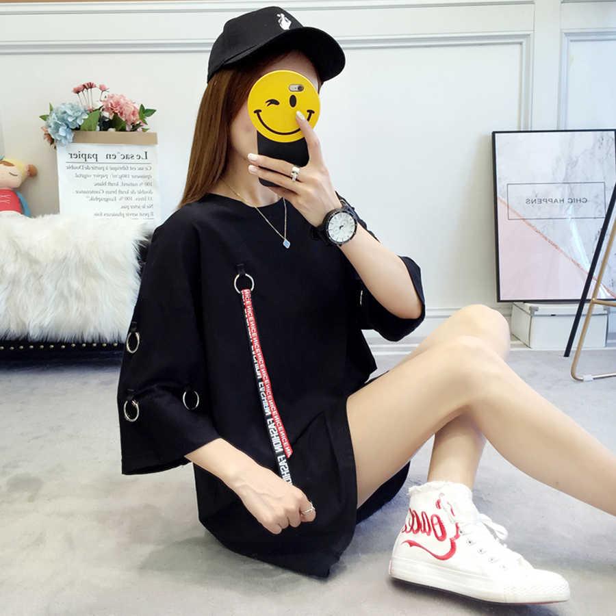 ยาวฤดูร้อนเสื้อยืดผู้หญิง Plus ขนาด O-Neck Ulzzang Harajuku Kawaii เกาหลีสไตล์ Streetwear Top Femme เสื้อยืดขนาดใหญ่เสื้อ 50H0013