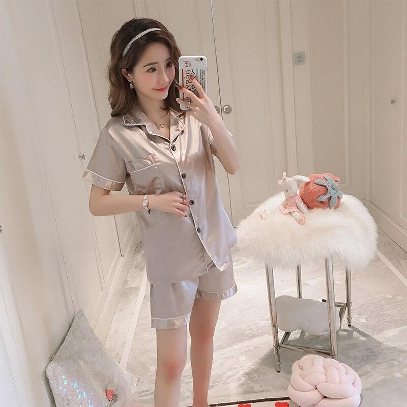 Imitation Silk Women   pajamas     set   2019 Summer ladies sleepwear girls short-sleeved Casual Lingerie femme home clothes gift