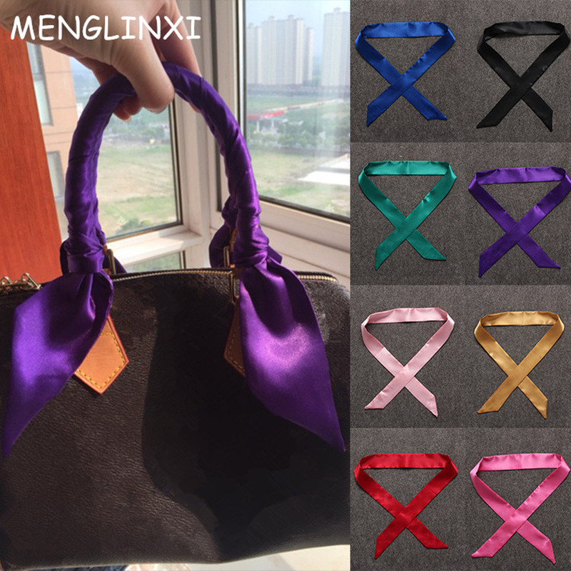 100X5cm 2020 New Scarf Luxury Brand Small Solid Color Silk Scarf Women Head Scarf Headwear Handle Bag Ribbon Strap Scarves
