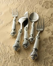 free shipping 5pcs Silver plated fashion classical handle three-dimensional carved cutlery kit knife and fork