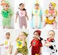 2016 Novo Conjunto Romper Do Bebê (macacão + Chapéu + Bib) Roupa Infantil Roupas de Bebê Menino E Menina Do Bebê Do Algodão curto BeBe Macacão Macacão