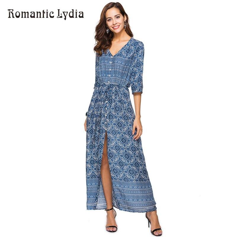 Vestido Largo Bohemio Para Mujer Elegante Holgado Tallas Grandes Para Primavera Y Verano 2018 Vintage Maxi Dress Maxi Dresslong Dress Aliexpress