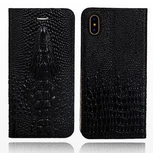 Image 2 - Wangcangli marki komórkowy obudowa na telefon głowa krokodyla etui na telefon z klapką do iPhone X skórzany futerał na telefon pełne ręcznie robione