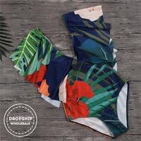 2018 Deep V Women One Piece Swimsuit Tropical Flower Print Flounce Monikini For Swimming Summer Beach