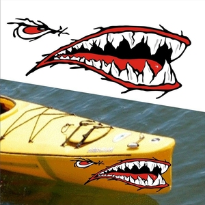 Image 1 - 2 Pcs Denti di Squalo Bocca Sticker Bocca Dei Pesci Sticker Barca Da Pesca Canoa Auto Camion Barca Kayak Gonfiabile In Vinile Adesivi Accessori