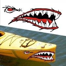 Pegatina de boca Boca de pescado con dientes de tiburón, 2 uds., pegatina de boca, barco de pesca, canoa, coche, camión, bote inflable, Kayak, pegatinas de vinilo, accesorios