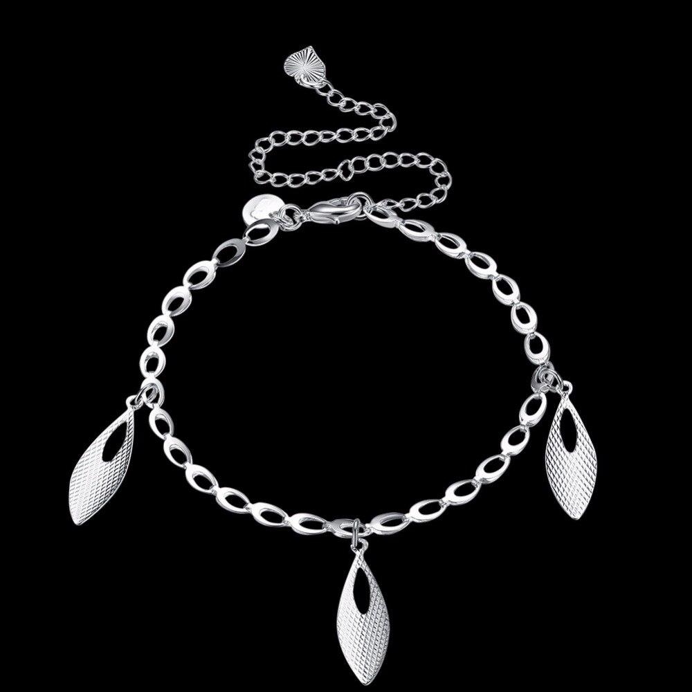 Ножные браслеты ноги носит три капли воды Подвески 925 чистого с серебряным покрытием творческая жизнь Безопасная Цепи для девочек подарок ю...