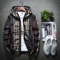 Men Jacket  Plaid Thin Slim Long Sleeve Stand Collar Spring  Bomber Jackets Vintage Hooded 2017 Korean Style Army Brand Clothing