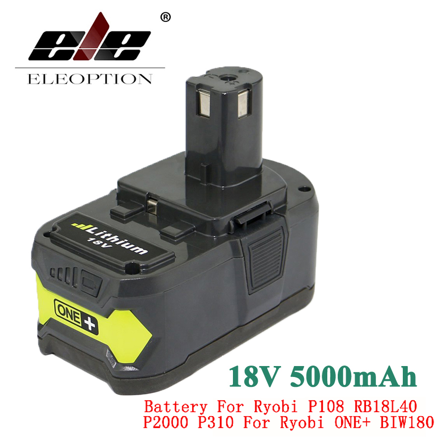 ELEOPTION 18V 5000mAh Li-Ion Rechargeable Battery For Ryobi P108 RB18L40 P2000 P310 For Ryobi ONE+ BIW180 brand new 2pcs 18v 4000mah li ion high capacity for ryobi p108 rb18l40 rechargeable battery pack power tool battery ryobi one