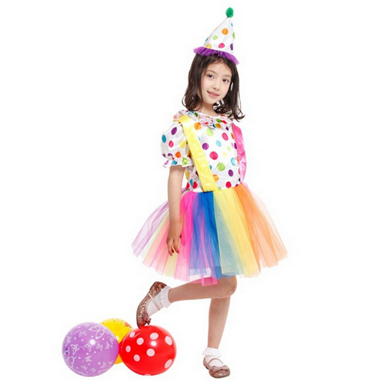 2018 child Halloween costumes clown multicolor dress girl suit dresses masquerade Cosplay costumes circus performance clothes