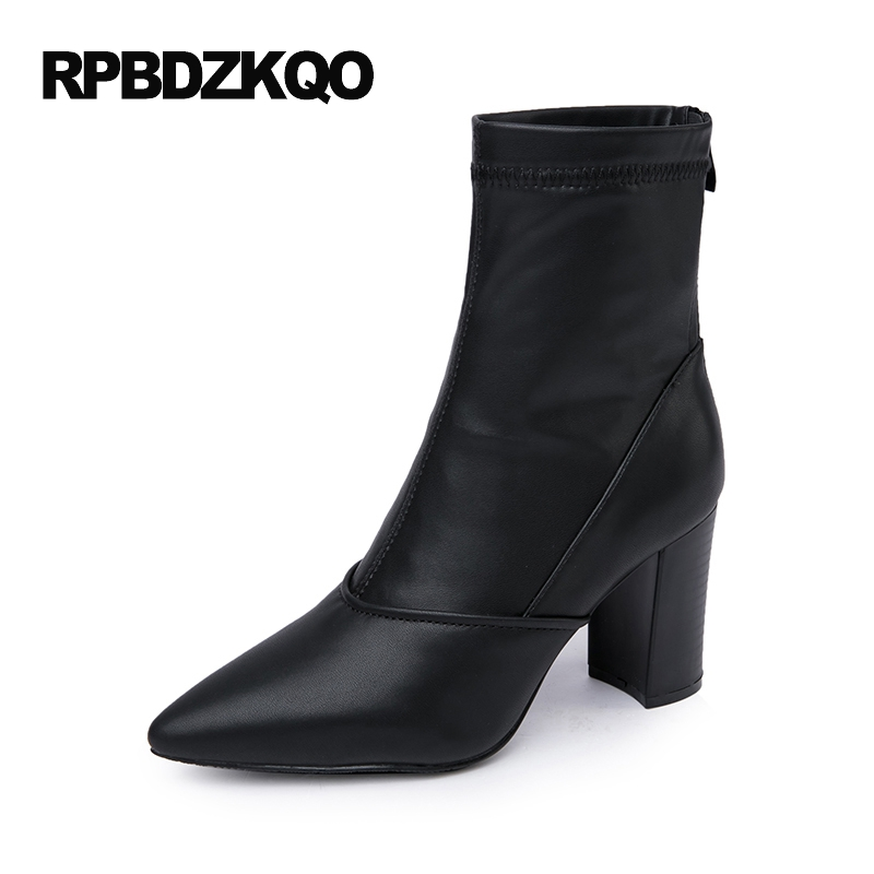 Boots Winter Chunky Black Luxury Brand Shoes Women High Heel Ankle 2017 Designer Fur Short Pointed Toe Pointy Waterproof Ladies 2018 ankle boots for women leather boots luxury designer socks shoes short female knitting weave fashion high heel boots