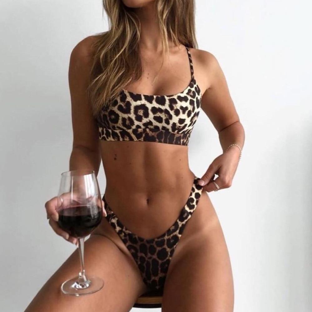 Women Leopard Print Bikini Push Up Padded 2019 Bra Beach Bikini Set Sexy Swimsuit High Waist Swimwear Thong Biquini#ewWomen Leopard Print Bikini Push Up Padded 2019 Bra Beach Bikini Set Sexy Swimsuit High Waist Swimwear Thong Biquini#ew
