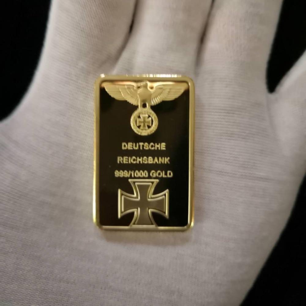 Presente de negócios para 999 barra de ouro real deutsche reichsbank banhado a ouro barra de lingote de ferro alemão barra oz águia cruz colecionável